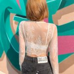 White See-Through Cropped Long Sleeves With Inner Cami | Hyuna