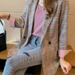 Pink and Grey Checkered Suit Jacket | IU