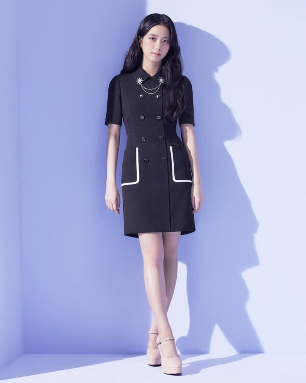 Black Collared Double Breasted Dress   Jisoo – Blackpink