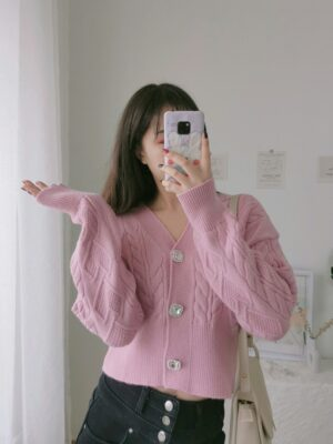 Joy – Red Velvet Pink Crystal Button Knitted Cardigan (11)