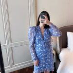 Blue Puff-Sleeve Ruffled Front Floral Dress   Mina – Twice