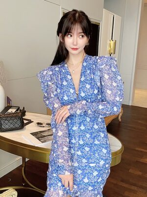 Mina – Blue Puff-Sleeve Ruffled Front Floral Dress (9)