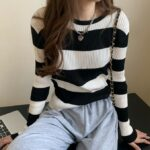Two-Color Striped Sweater | Miyeon – (G)I-DLE