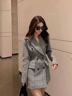 Rose – BlackPink Double Breasted Houndstooth Suit Jacket (7)