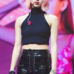 Black Lace-Up Leather Pants | Chaeyoung – Twice