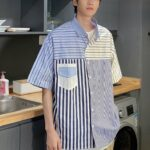 Blue Patchwork Shirt With Stripe Pattern | Hendery – NCT