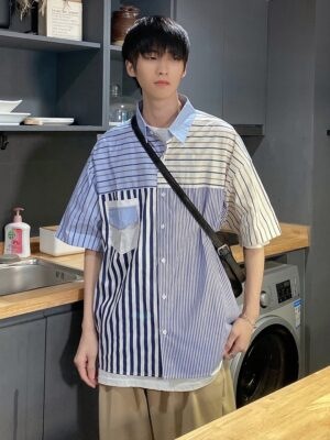 Hendery – NCT Blue Patchwork Shirt With Stripe Pattern (8)