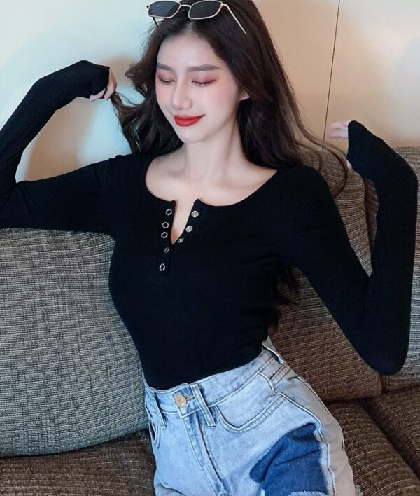 Tight-Fitting Long Sleeve Button Top   Hyuna