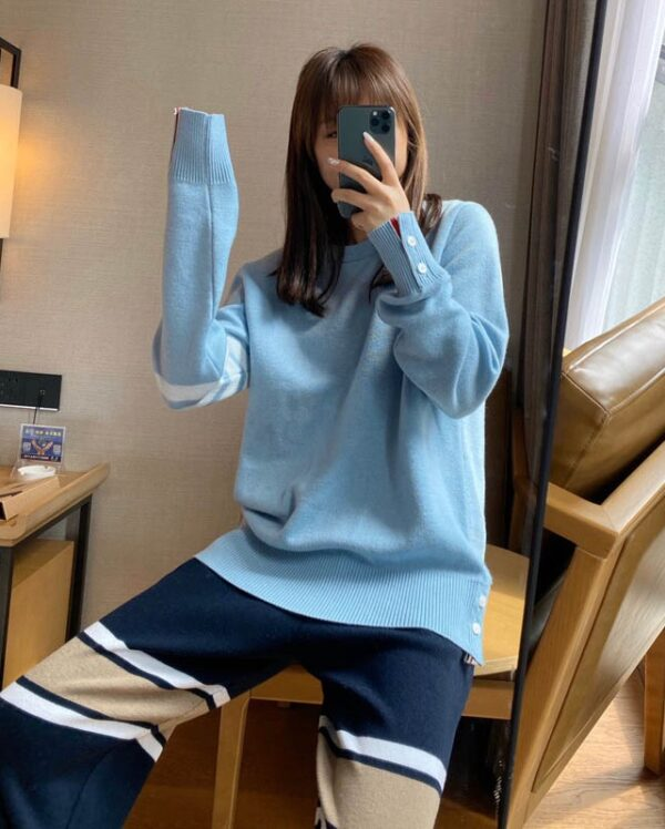 Blue Round Neck Sweater With Line Bars | Jin – BTS