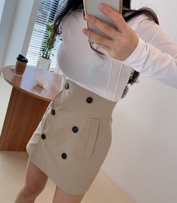 High-Waisted Beige Wrapped Skirt | Miyeon – (G)I-DLE