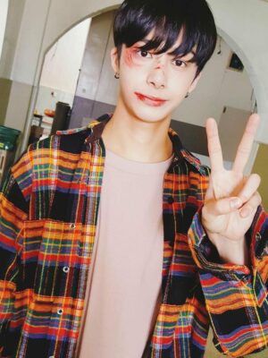 Multi-Colored Checkered Flannel Shirt | Hyungwon – MONSTA X