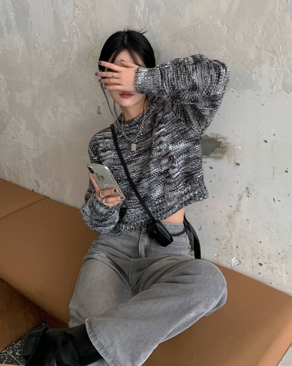 Variegated Short Knit Sweater | The8 – Seventeen