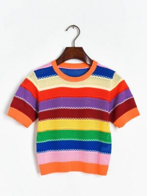 Wendy – Red Velvet Rainbow Hollow Out T-Shirt (1)