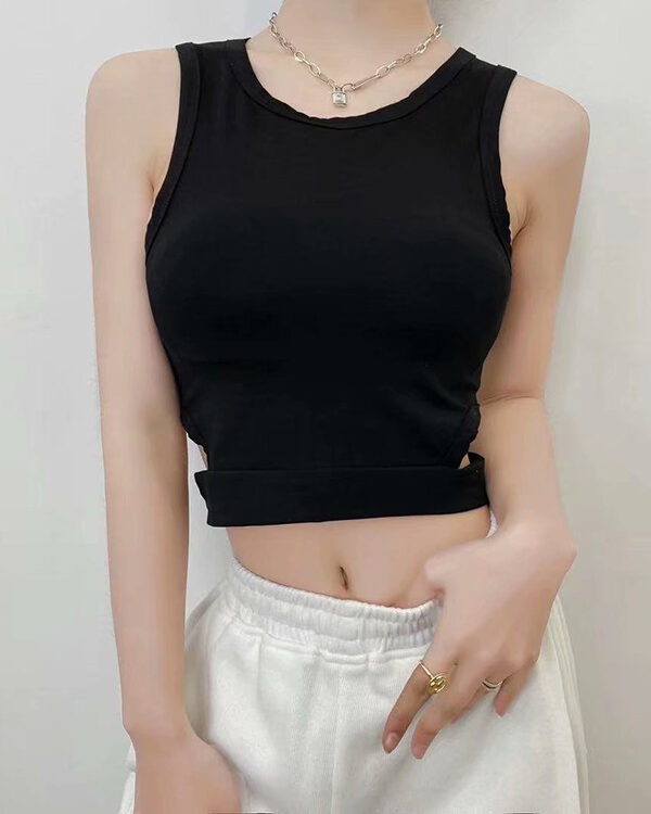 Black Sleeveless Crop Top With Hole Cut Outs   Lia – ITZY