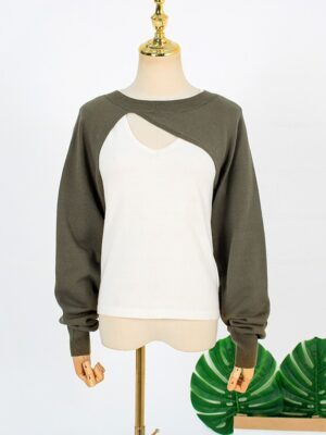 Joo Seok Kyung – Penthouse Olive Green Cut-Out Sweater And White Top Set (5)