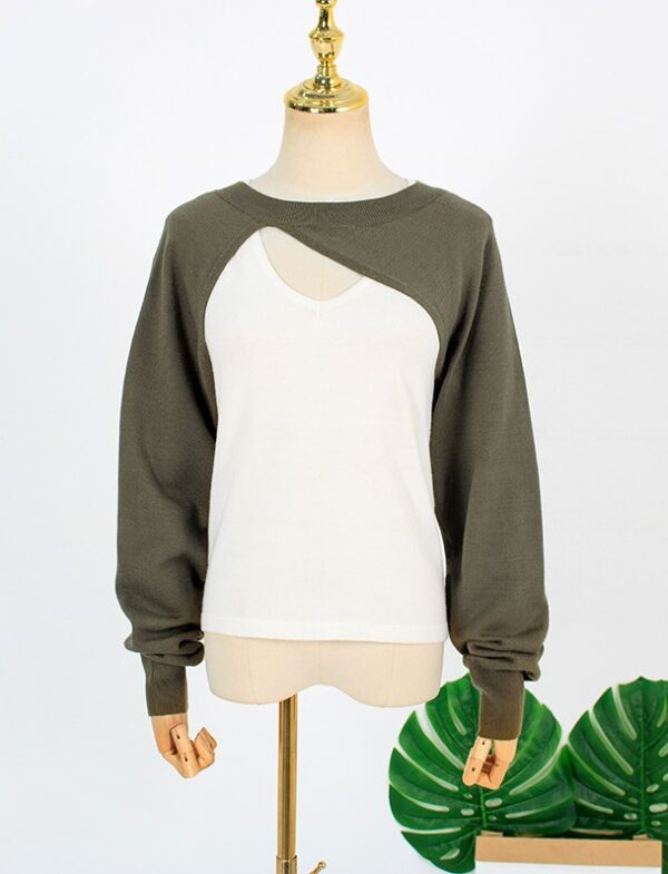 Olive Green Cut-Out Sweater And White Top Set | Joo Seok Kyung – Penthouse