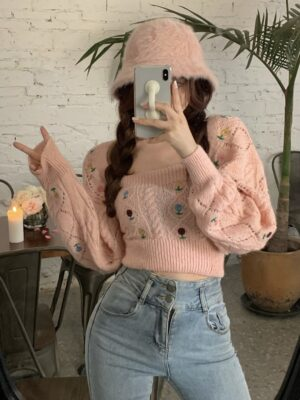 Lia – ITZY Floral Embroidered Pink Top and Cardigan Set (13)
