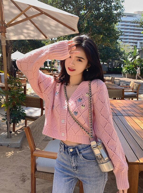 Floral Embroidered Pink V-Neck Cardigan | Nayeon – Twice