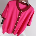 Pink Short Sleeve Knitted Cardigan | Nayeon – Twice