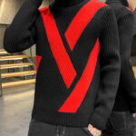 Black And Red Color Block Turtleneck Sweater | Mingyu – Seventeen