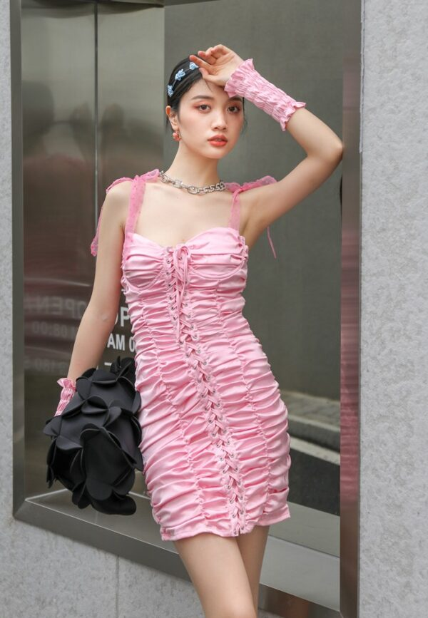 White  Lace-Up Front Dress | Chaeyoung – Twice