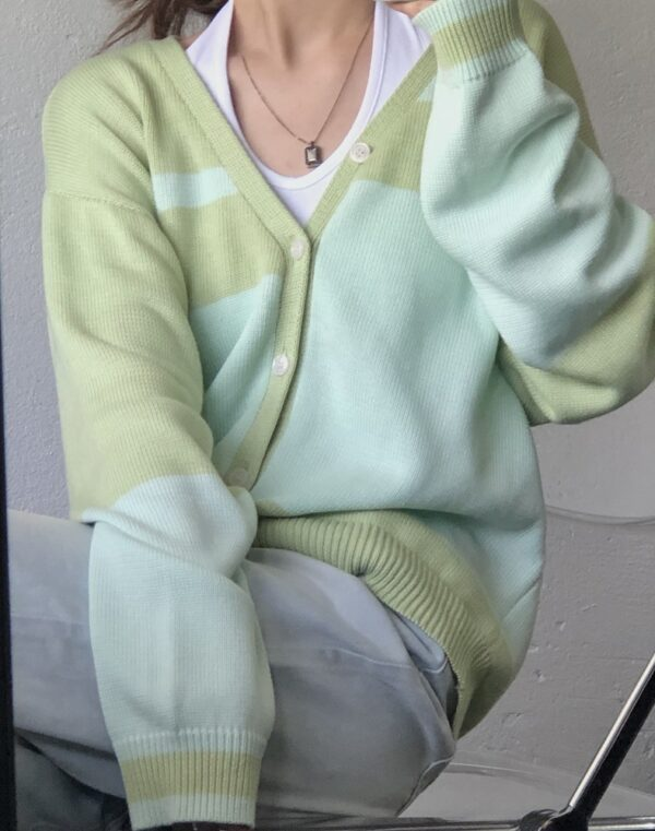 Contrast Color Knitted Cardigan | Jongho – ATEEZ