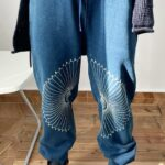 Blue Ethnic Embroidered Sweatpants | RM – BTS