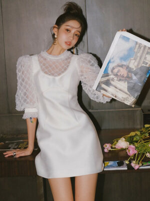 White Beaded Lace Dress Chaeryeong – ITZY 4