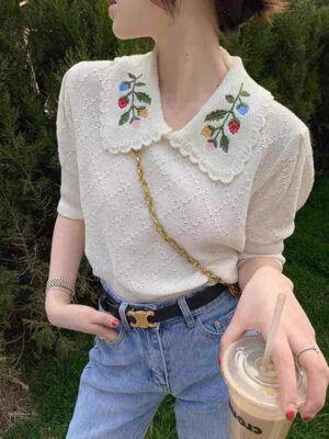 Leaf Embroidered Collar Top Chaeryeong – ITZY 4