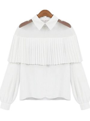 Solar – Mamamoo White Pleated Shirt With Sheer Detail (4)