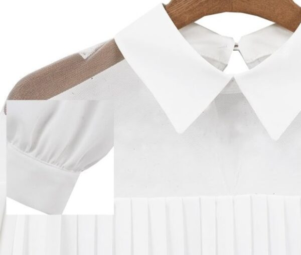 White Pleated Shirt With Sheer Detail | Solar – Mamamoo