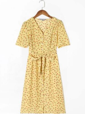 Sooyoung – Girls Generation Yellow Tie Waist Floral Dress (4)