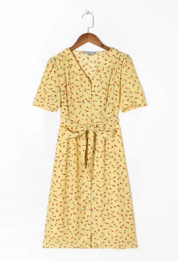 Yellow Tie Waist Floral Dress | Sooyoung – Girls Generation