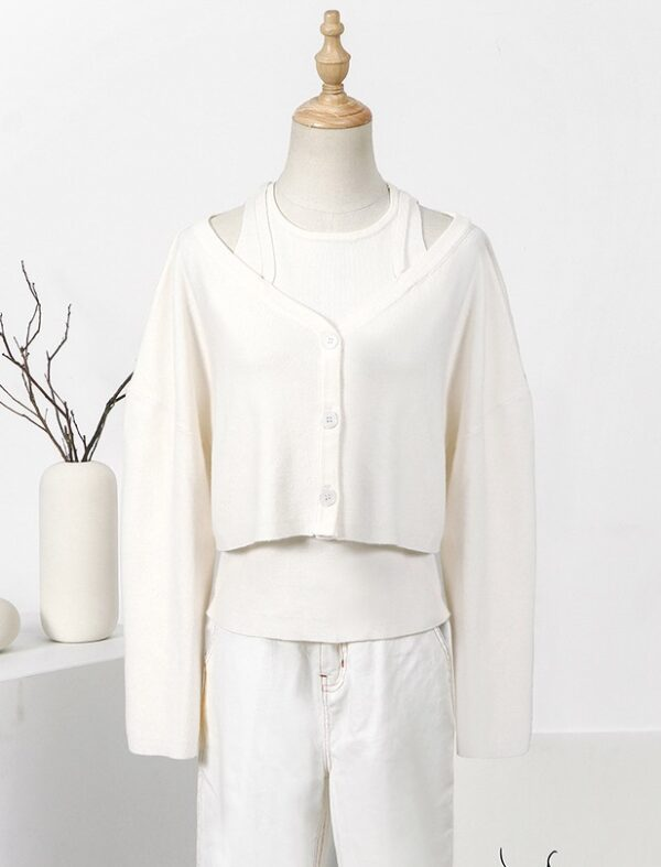 White Knitted Top And Cardigan Set | Joo Seok Kyung – Penthouse