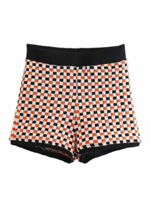 Rose – BlackPink Knitted Checkered Shorts (7)