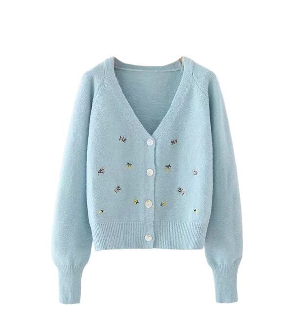 Blue Floral Embroidered Cardigan | Aisha – Everglow