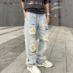 Flower Patched Distressed Denim Jeans | Hongjoong – ATEEZ
