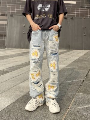 Hongjoong – ATEEZ Flower Patched Distressed Denim Jeans (18)