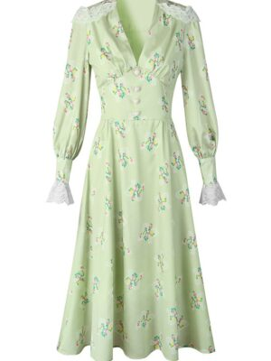 Jeongyeon – Twice Green Lace-Trimmed Floral Dress (8)