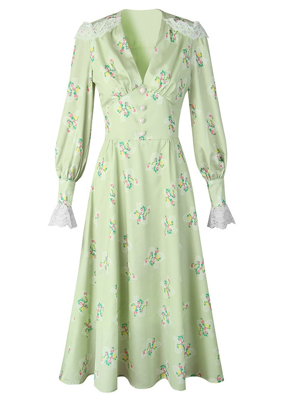 Green Lace-Trimmed Floral Dress   Jeongyeon – Twice