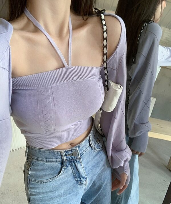 Lilac Knitted Halter Top | Ningning – Aespa