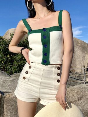 Rose – BlackPink White Knitted Button Top (14)