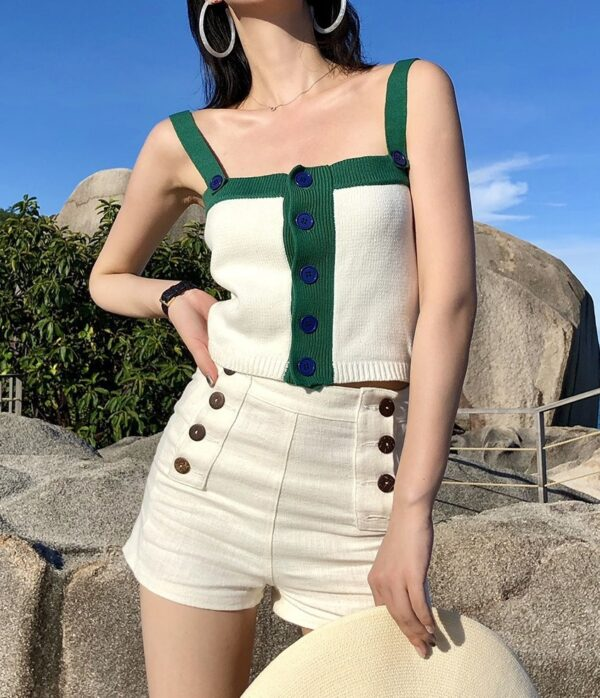 White Knitted Button Top   Rose – BlackPink