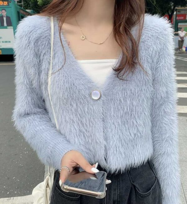 Blue Fluffy Cropped Cardigan | Sihyeon – Everglow