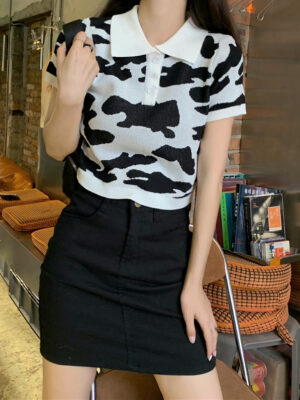Soyeon – (G)I-DLE – Black And White Cow Pattern Shirt (8)