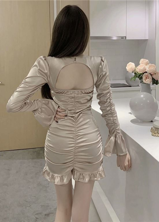 Beige Ruched  Long Sleeves Dress  Chaeyoung – Twice