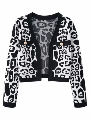 Black And White Knitted Cardigan Ryujin – ITZY (3)
