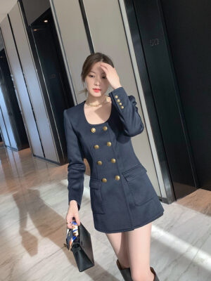 Blue Double-Breasted Suit Dress Chaeryeong – ITZY (3)