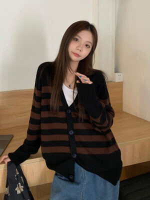 Hoshi – Seventeen – Brown Striped Knitted Cardigan 7