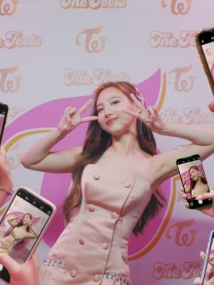 Pink Double Breasted Pleated Dress | Nayeon – Twice
